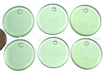 Cultured Sea Glass Flat Coin Pendants <b>25mm</b> 23-Peridot per <b>6-pc-bag</b>