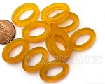 Cultured Sea Glass oval ring Beads <b>About 22x16mm</b>  57 - Saffron Yellow per <b> 10-pc-bag</b>