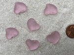 Cultured Sea Glass Small Puffed Fancy Heart Pendants <b>18x18mm</b> 06-Bloosom Pink per <b>6-pc-bag</b>