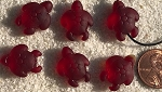 Cultured Sea Glass large hole seaturtle beads for corded jewelry designs <b>20x15mm</b> 05-Cherry Red per <b>6-pc-bag</b>