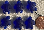 Cultured Sea Glass large hole seaturtle beads for corded jewelry designs <b>20x15mm</b> 33-Royal Blue per <b>6-pc-bag</b>