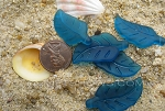 Cultured Sea Glass leaf Pendants  <b>33x17mm</b>  82-Teal    per  <b>5-pc-bag</b>