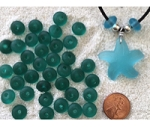 Cultured sea glass large hole roundelle <b>about 10mm</b> 82- teal <b>36-pc-bag or strand</b>, hand-drilled 2.5mm large hole, perfect on leather cords or different types of chains, only $0.07/bead wsale!