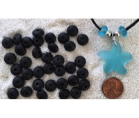 Cultured sea glass large hole roundelle <b>about 10mm</b> 02- Black <b>36-pc-bag or strand</b>, hand-drilled 2.5mm large hole, perfect on leather cords or different types of chains, only $0.07/bead wsale!