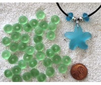 Cultured sea glass large hole roundelle <b>about 10mm</b> 23- Peridot <b>36-pc-bag or strand</b>, hand-drilled 2.5mm large hole, perfect on leather cords or different types of chains, only $0.07/bead wsale!