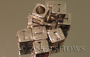 BM Large Hole Letters <b>about 10x9mm</b> Antique Silver Tone large hole silver-plated alloy carved with I per   <b>10-pc-bag</b>