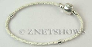 BM Bracelets <b>about 8 inches</b> Antique Silver Tone white leatheroid braid cord with silver-plated magnetic copper clasp per   <b>1-str-bag</b>