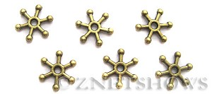 BM Animal Beads <b>9mm</b> Antique Brass Tone snowflake (12-pc-bag) per   <b>5 Bags</b>