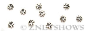 Base Metal Beads <b>4mm</b> Antique Silver Tone tiny Daisy (190-pc-bag) per   <b>5 Bags</b>