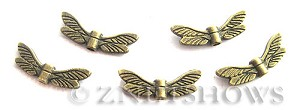 BM Animal Beads <b>20x7mm</b> Antique Brass Tone dragonfly wing (12-pc-bag) per   <b>5 Bags</b>