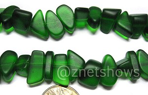 Cultured Sea Glass pebbles Beads <b>about 15-9x10-4mm </b> 25-Shamrock  about 30 pcs per <b>8-in-str </b>