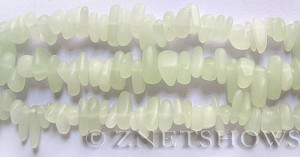 Cultured Sea Glass pebbles Beads  <b>9x6mm</b> 43L - Very nice Light Opaque Olive-sea foam Green about 45 pcs    per  <b>8-in-str</b>