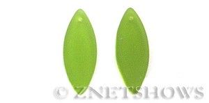 Cultured Sea Glass marquise spindle Pendants  <b>33x13mm</b> 22-Olive    per  <b>10-pc-bag</b>