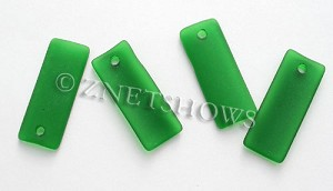 Cultured Sea Glass bottle-curved thin rectangle Pendants  <b>35x14mm</b>  25-Shamrock    per  <b>6-pc-bag</b>
