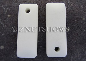 Cultured Sea Glass rectangle puffed Pendants  <b>32x12mm</b> 42-Opaque White    per  <b>8-pc-bag</b>