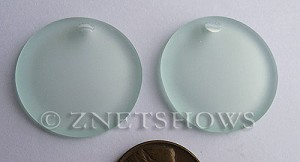 Cultured Sea Glass concaved coin Pendants  <b>25mm</b> 88-Light Aqua `Coke` bottle Seafoam Bottle bottom style  per  <b>12-pc-bag</b>