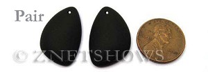Cultured Sea Glass eclipse Pendants  <b>25x17mm</b> 02-Jet Black   per  <b>pair</b>