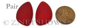 Cultured Sea Glass eclipse Pendants  <b>25x17mm</b> 05-Cherry Red   per  <b>pair</b>