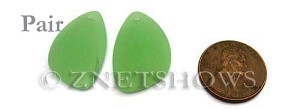 Cultured Sea Glass eclipse Pendants  <b>25x17mm</b> 43-Opaque Seafoam Green   per  <b>pair</b>