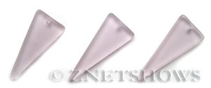 Cultured Sea Glass shield Pendants  <b>37x15mm</b> 06-Blossom Pink triangle   per  <b>10-pc-bag</b>