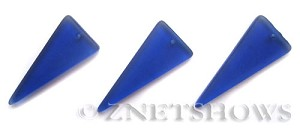 Cultured Sea Glass shield Pendants  <b>37x15mm</b> 33-Royal Blue triangle   per  <b>10-pc-bag</b>