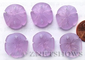 Cultured Sea Glass sand dollar Pendants  <b>21x19mm</b> 39-Periwinkle Changes earring size   per  <b>6-pc-bag</b>