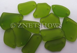 Cultured Sea Glass double-hole flat freeform mix Pendants  <b>varied</b> 22-Olive   per  <b>12-pc-bag</b>