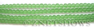 Cultured Sea Glass round Beads  <b>4mm</b> 23-Peridot (48 pcs in 8-in-str)   per  <b>5-strand-hank</b>