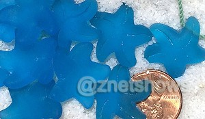 Cultured Sea Glass starfish small charms <b>20x7mm</b> 30-Pacific Blue <b> top side drilled </b>  per <b>10-pc-bag</b>