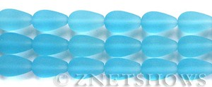 Cultured Sea Glass teardrop round Beads  <b>16x10mm</b> 28-Turquoise Bay (4-in-str)(6-pc-str)   per  <b>5-str-hank</b>