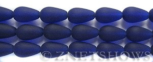 Cultured Sea Glass teardrop round Beads  <b>16x10mm</b> 33-Royal Blue (4-in-str)(6-pc-str)   per  <b>5-str-hank</b>