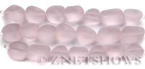 Cultured Sea Glass nugget Beads  <b>10-15mm</b> 06-Blossom Pink (7-pc-str)   per  <b>5-strand-hank</b>