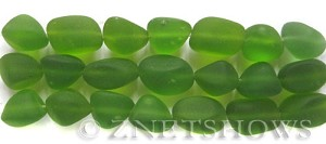 Cultured Sea Glass nugget Beads  <b>10-15mm</b>  22-Olive (7-pc-str)   per  <b>5-strand-hank</b>