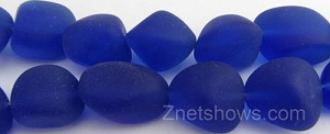 Cultured Sea Glass nugget Beads  <b>10-15mm</b> 33-Royal Blue (7-pc-str)   per  <b>5-strand-hank</b>
