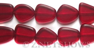 Cultured Sea Glass freeform flat Beads  <b>18-22mm</b> 05-Cherry Red (9-pc-str)   per  <b>8-in-str</b>