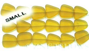 Cultured Sea Glass freeform flat Beads  <b>13-16mm</b> 16-Desert Gold 6-pc-str   per  <b>5-str-hank</b>
