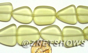 Cultured Sea Glass freeform flat Beads  <b>18-22mm</b> 84-Lemon (9-pc-str)   per  <b>8-in-str</b>