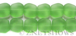 Cultured Sea Glass square nugget Beads  <b>18x17mm</b> 23-Peridot (6-pc-strad)   per  <b>5-strand-hank</b>(6-pc-str)