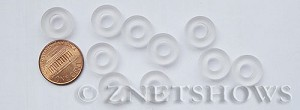 Cultured Sea Glass ring Beads  <b>12mm</b> 01-Crystal Bottle-neck style rings    per  <b>10-pc-bag</b>