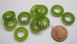 Cultured Sea Glass ring Beads  <b>16mm</b> 22-Olive Bottle-neck style rings    per  <b>10-pc-bag</b>