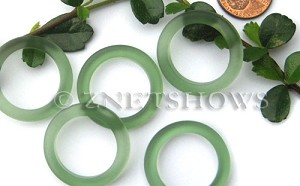 Cultured Sea Glass ring Beads  <b>27mm</b> 25-Shamrock Bottle-neck style rings    per  <b>10-pc-bag</b>