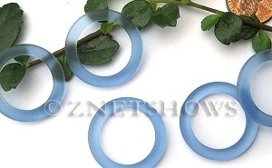 Cultured Sea Glass ring Beads  <b>27mm</b> 31-Light Sapphire Bottle-neck style rings    per  <b>10-pc-bag</b>