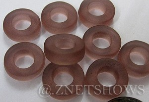 Cultured Sea Glass ring Beads  <b>12mm</b> 37-Medium Amethyst Bottle-neck style rings    per  <b>10-pc-bag</b>