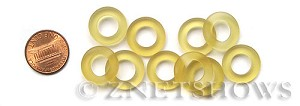Cultured Sea Glass ring Beads  <b>16mm</b> 84-Lemon Bottle-neck style rings    per  <b>10-pc-bag</b>