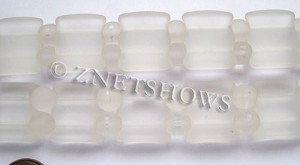 Cultured Sea Glass double hole Beads 20x20mm 01-Crystal    per  <b>10-pc-str</b>