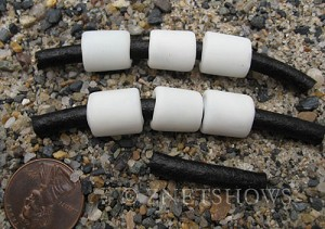 Cultured Sea Glass tube Beads  <b>12x10mm</b> 42-Opaque White large hole (Hand-made, shape and color may vary slightly)   per  <b>6-pc-bag</b>