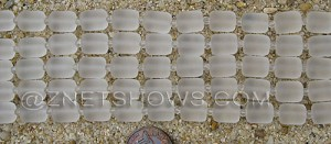 Cultured Sea Glass barrel nugget Beads  <b>10x8mm</b> 01-Crystal (17-pc-str)   per  <b>5-str-hank</b>