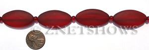 Cultured Sea Glass oval Beads  <b>35x18mm</b> 05-Cherry Red    per  <b>6-pc-str</b>