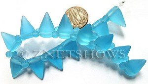 Cultured Sea Glass Spike Beads  <b>18x12mm</b> 28-Turquoise Bay cone shape with double hole beads   per  <b>8-inch (15-pc-str)</b>