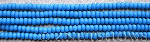 opaque sky blue Cultured Sea Glass rondelle Beads  <b>4x3mm</b> (58 pcs in 8-in-str)   per  <b>5-str-hank</b>